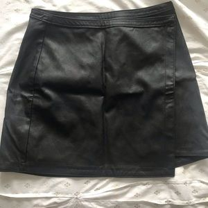 abercrombie faux leather wrap skirt